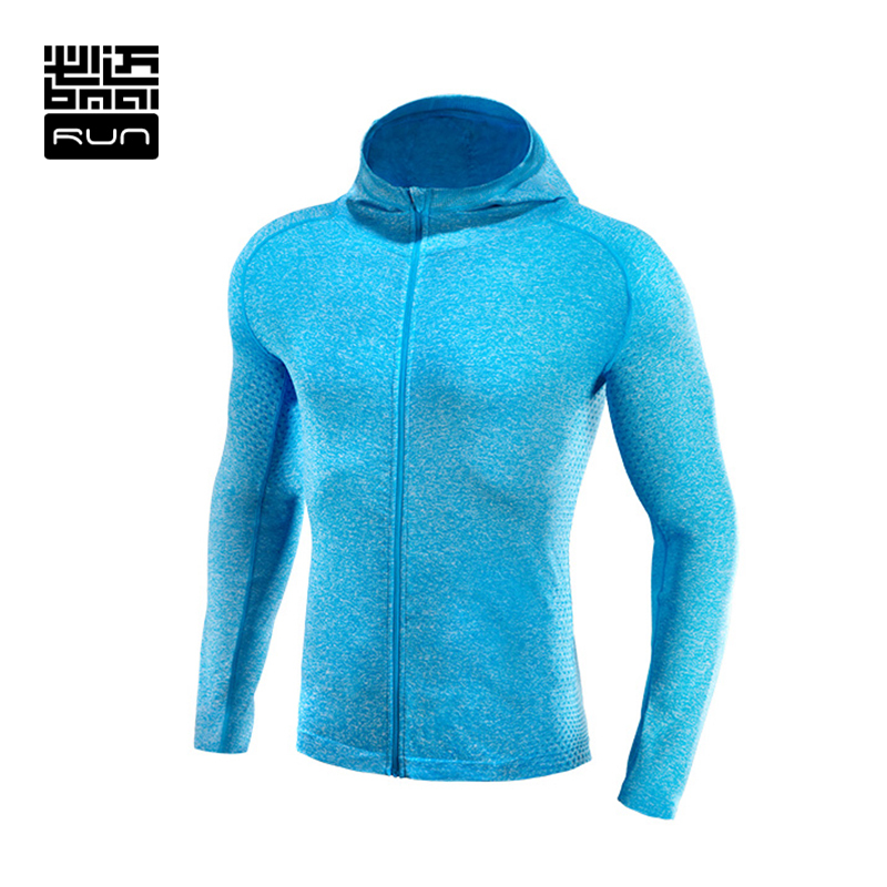BMAI Running Sports Jacket For Man Breathable Quick-dry Long sleeve Fitness Hooded Zipper Outwear Sweatshirt #FRHB001