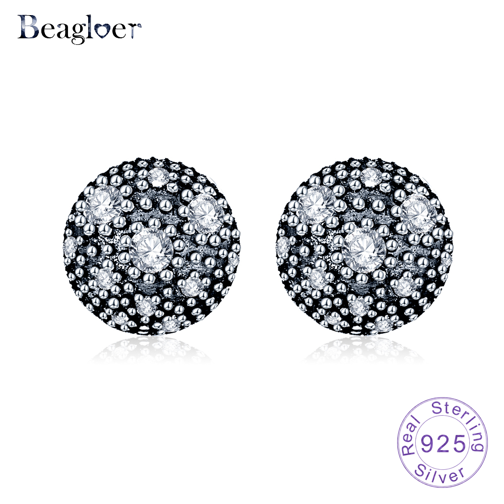 Beagloer Hot Sale 925 Sterling Silver Cosmic Stars Stud Earrings Clear CZ Fashion Jewelry for Women PSER0019-B
