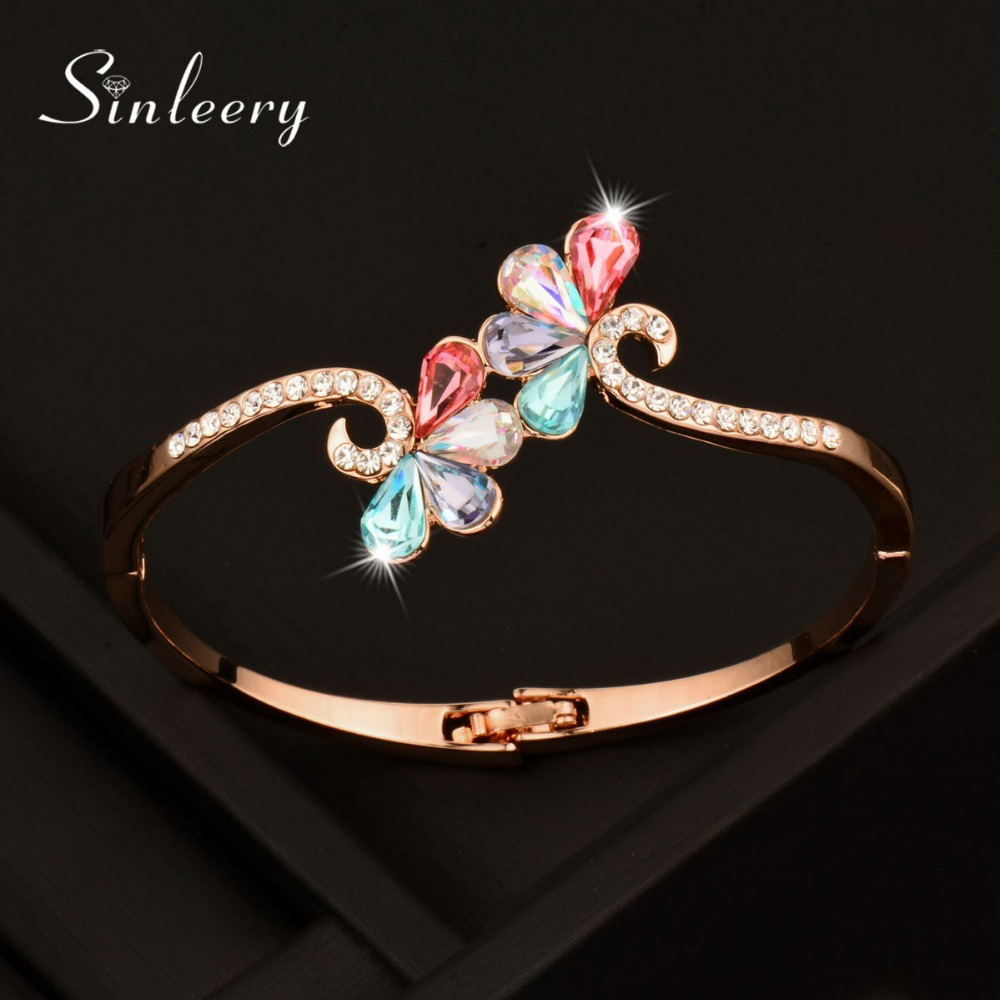 SINLEERY Charm AAA Cubic Zircon Multicolour Flower Bangle Bracelets Cuff For Women Rose/White Gold Color High Quality Sl379