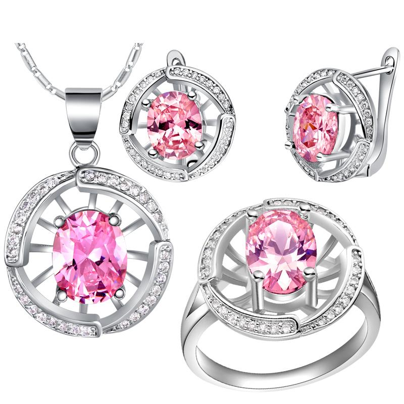 2015 Women Wedding/Engagement Accessaries White Gold Colou Jewelry Sets Necklace Earrings And Ring T448-6