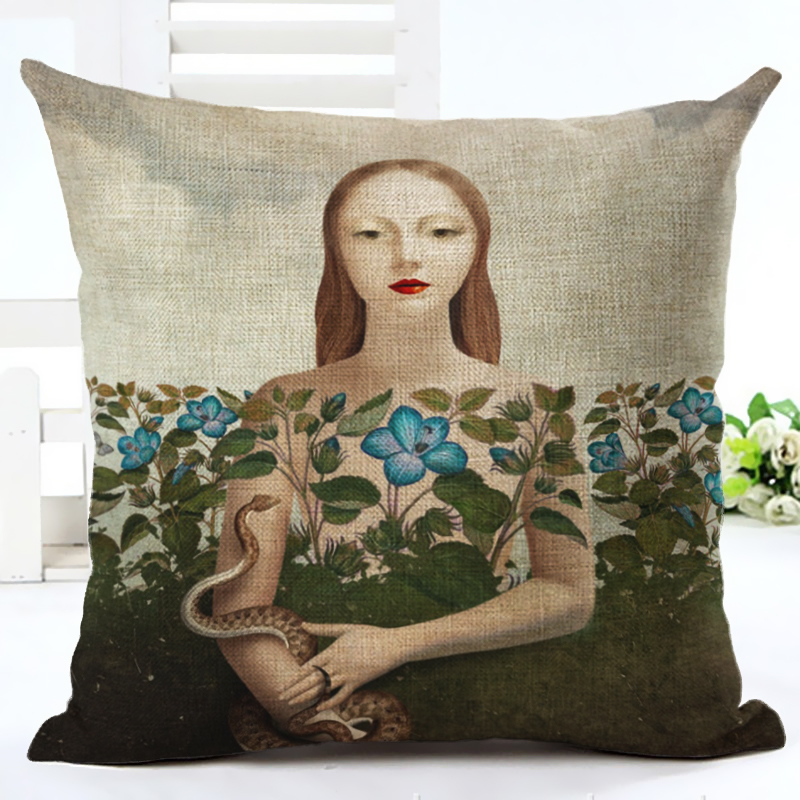 Home Decor Beautiful Girl Printed High Quality Cotton Linen Decorative Cushion Cover Pillowcase Car Seat 45*45cm